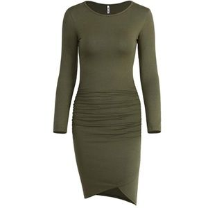 Long Sleeve Ruched Bodycon Sundress Irregular Shea
